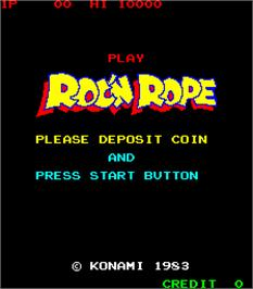 Title screen of Roc'n Rope on the Arcade.