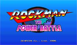 Title screen of Rockman: The Power Battle on the Arcade.
