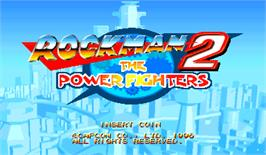Title screen of Rockman 2: The Power Fighters on the Arcade.