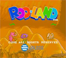 Title screen of Rod-Land on the Arcade.