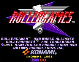 Title screen of Rollergames on the Arcade.