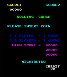 Title screen of Rolling Crash / Moon Base on the Arcade.