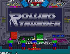 Title screen of Rolling Thunder on the Arcade.