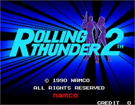 Title screen of Rolling Thunder 2 on the Arcade.