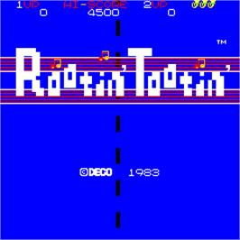 Title screen of Rootin' Tootin' on the Arcade.