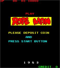 Title screen of Ropeman on the Arcade.