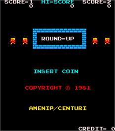 Title screen of Round-Up on the Arcade.
