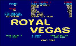 Title screen of Royal Vegas Joker Card on the Arcade.