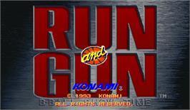 Title screen of Run and Gun on the Arcade.