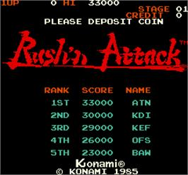 Title screen of Rush'n Attack on the Arcade.