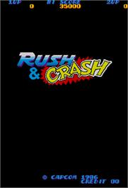 Title screen of Rush & Crash on the Arcade.