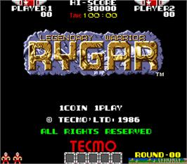 Title screen of Rygar on the Arcade.
