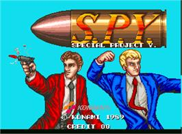 Title screen of S.P.Y. - Special Project Y on the Arcade.