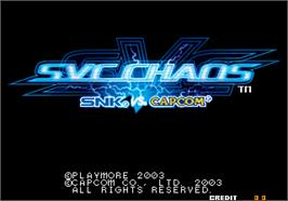 Title screen of SNK vs. Capcom - SVC Chaos on the Arcade.