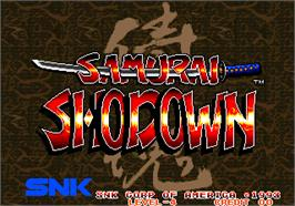 Title screen of Samurai Shodown / Samurai Spirits on the Arcade.