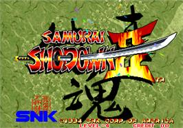 Title screen of Samurai Shodown II / Shin Samurai Spirits - Haohmaru jigokuhen on the Arcade.