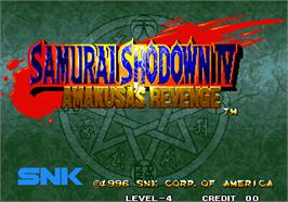 Title screen of Samurai Shodown IV - Amakusa's Revenge / Samurai Spirits - Amakusa Kourin on the Arcade.