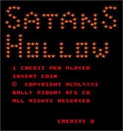 Title screen of Satan's Hollow on the Arcade.