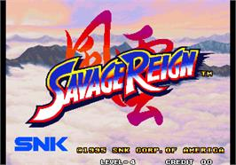 Title screen of Savage Reign / Fu'un Mokushiroku - kakutou sousei on the Arcade.