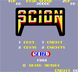 Title screen of Scion on the Arcade.