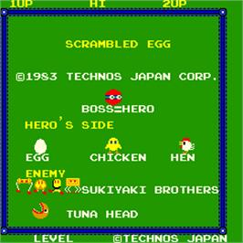 Title screen of Scrambled Egg on the Arcade.