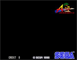 Title screen of Scud Race on the Arcade.