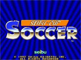 Title screen of Seibu Cup Soccer on the Arcade.