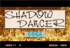 Title screen of Shadow Dancer on the Arcade.