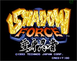 Title screen of Shadow Force on the Arcade.