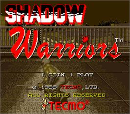 Title screen of Shadow Warriors on the Arcade.