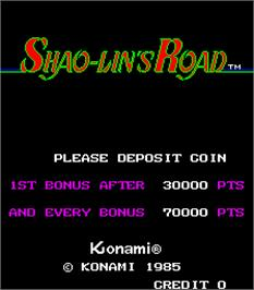 Title screen of Shao-lin's Road on the Arcade.