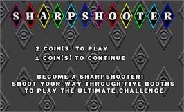 Title screen of Sharpshooter on the Arcade.