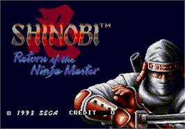 Title screen of Shinobi III on the Arcade.