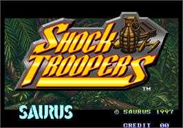 Title screen of Shock Troopers on the Arcade.