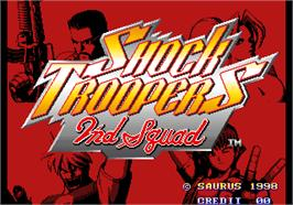 Title screen of Shock Troopers - 2nd Squad on the Arcade.
