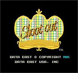 Title screen of Shoot Out on the Arcade.