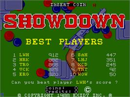 Title screen of Showdown on the Arcade.