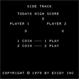 Title screen of Side Track on the Arcade.