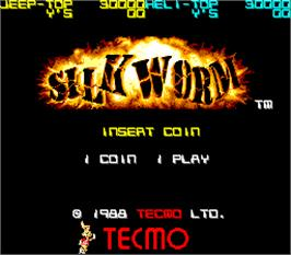 Title screen of Silk Worm on the Arcade.