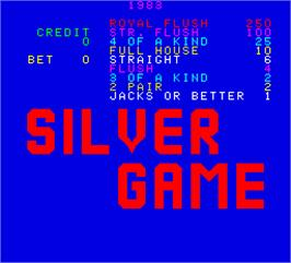 Title screen of Silver Game on the Arcade.