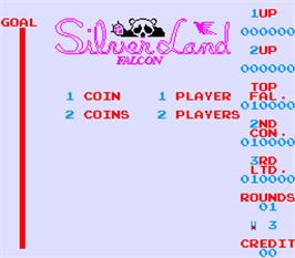 Title screen of Silver Land on the Arcade.