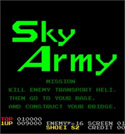 Title screen of Sky Army on the Arcade.