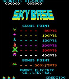 Title screen of Sky Base on the Arcade.