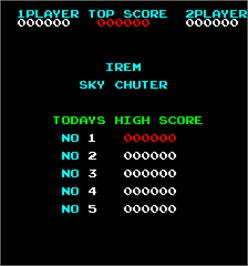 Title screen of Sky Chuter on the Arcade.