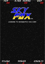 Title screen of Sky Fox on the Arcade.