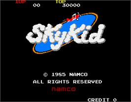 Title screen of Sky Kid on the Arcade.