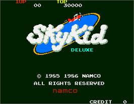 Title screen of Sky Kid Deluxe on the Arcade.