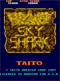 Title screen of Sky Shark on the Arcade.