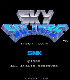 Title screen of Sky Soldiers on the Arcade.