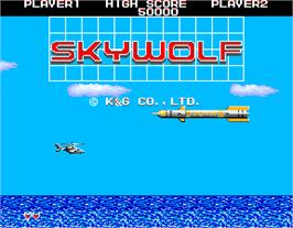 Title screen of Sky Wolf on the Arcade.